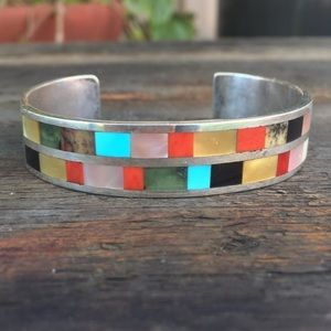 Jewelry - Multi Stone Inlay Sterling Silver Solid Cuff